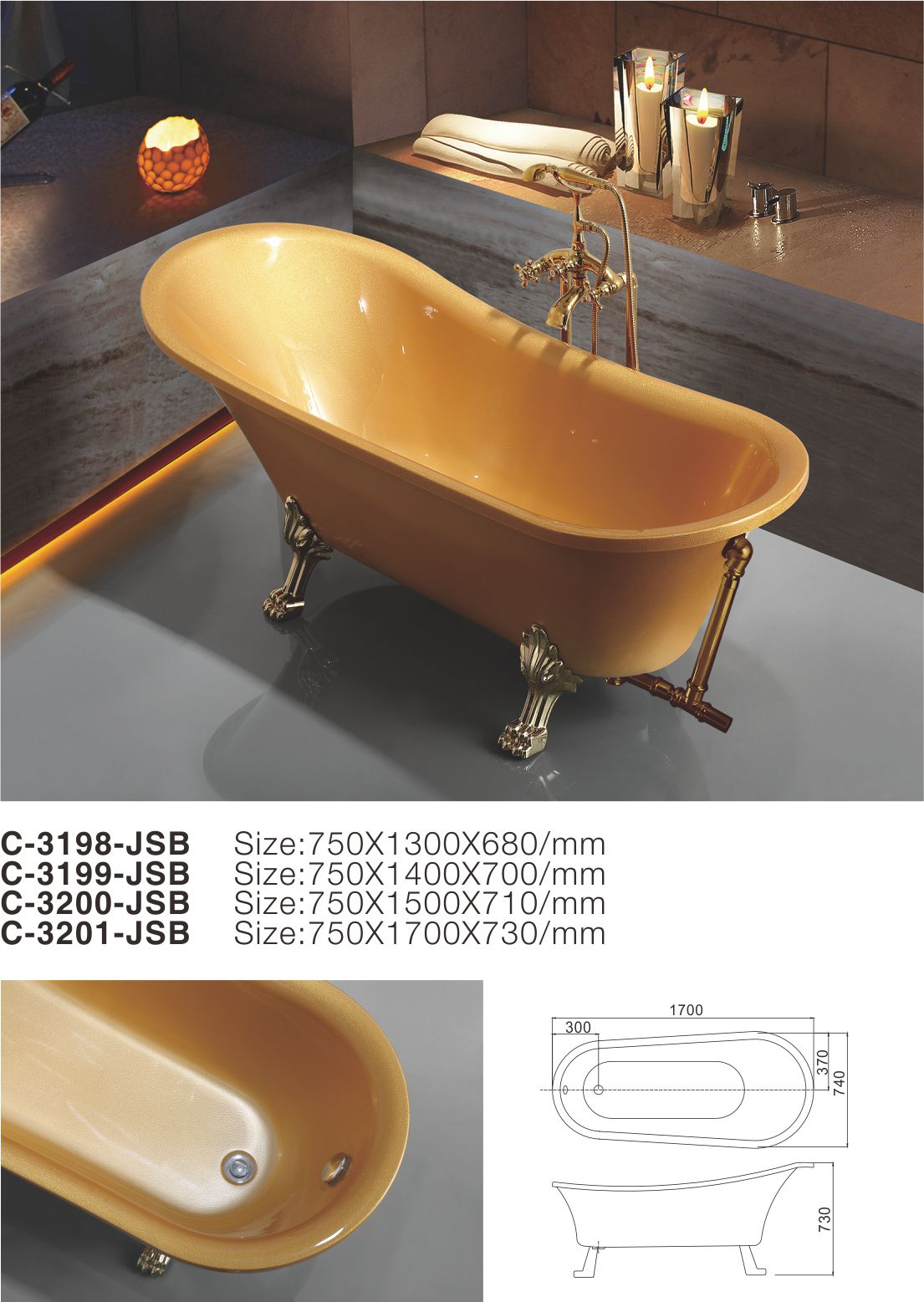 C-3198-JSB_2017 New Charming European Style Golden Oval Acrylic Free Standing Soaking Hot Tub-1.jpg