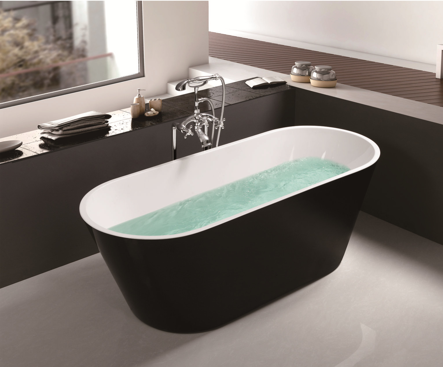 China Acrylic Freestanding Oval Shape Deep Soaking tub -Black Luxury ...