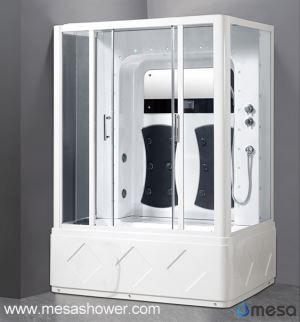 Large White Shower Room With Soaking Bath Tub For 2 Person