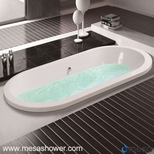 Center Drain 3 Size Optional Acrylic Oval Shape Soaking Injection Drop-in Bathtub