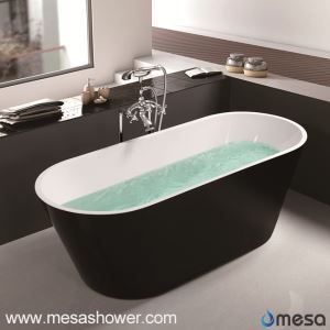 Acrylic  Freestanding Oval Shape Deep Soaking tub -Black Luxury